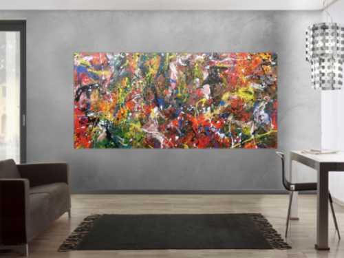 Abstraktes Acrylbild sehr bunt Actionpainting modern und viele bunte Farben