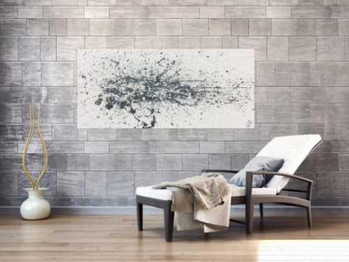 Abstraktes Acrylbild Actionpainting schlicht weiß grau beige