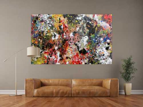 Abstraktes Bild Actionpainting Acryl expressionistisch sehr modern und bunt viele farben