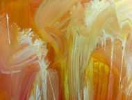 Detailaufnahme Abstraktes Acrylbilder helle Farben Rosa gelb weiß sehr modern Mischtechnik