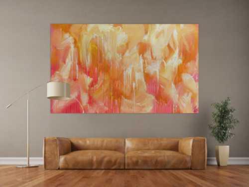 Abstraktes Acrylbilder helle Farben Rosa gelb weiß sehr modern Mischtechnik