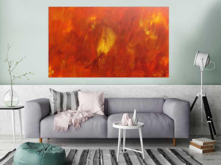 #998 Abstraktes Acrylgemälde modern in orange und gelb schlicht 100x170cm von Alex Zerr