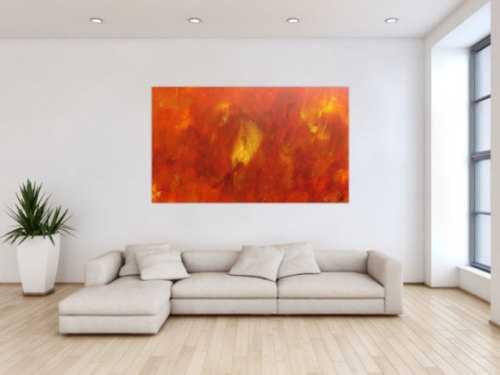 Abstraktes Acrylgemälde modern in orange und gelb schlicht