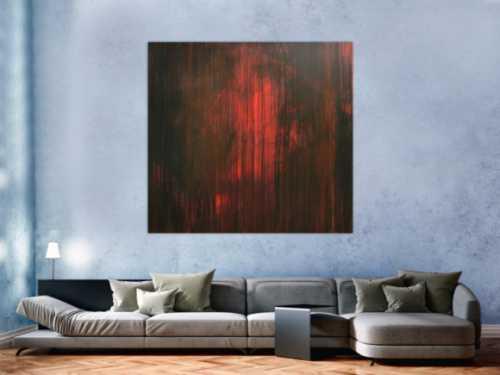 Abstraktes minimalistisches Acrylbild in schwarz und rot modern mystisch