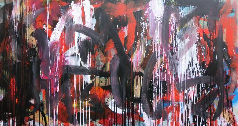 Abstraktes Gemälde sehr modernes Acrylbild Mischtechnik in rot schwarz weiß