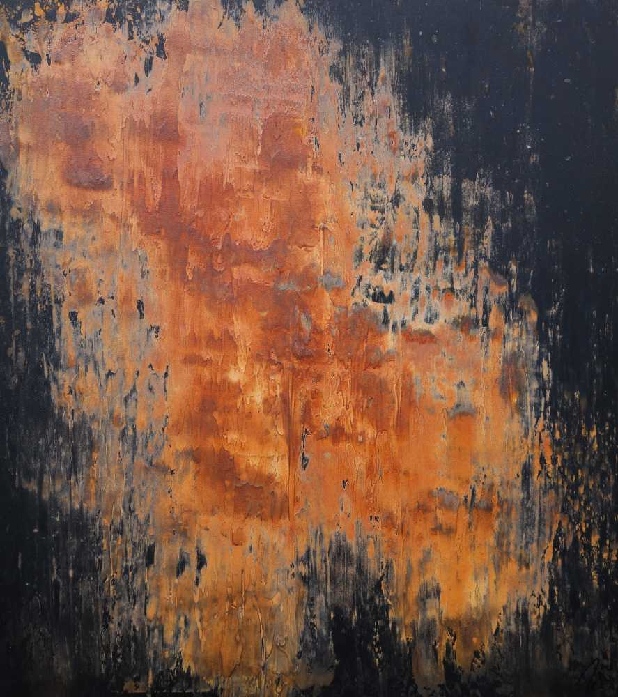 Abstraktes Acrylbild aus echtem Rost und Acryl Mischtechnik sehr modern Rost auf schwarzer Leinwand