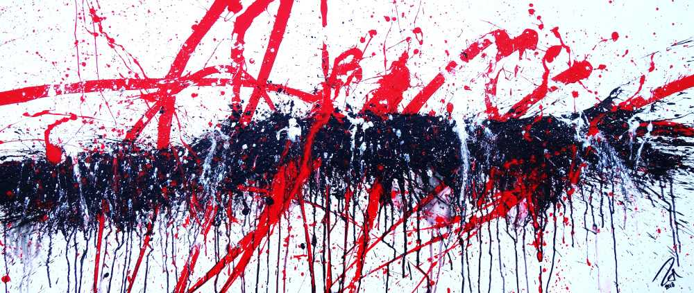 Abstraktes Acrylbild modern Action Painting in weiß schwarz rot
