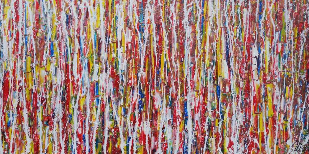 Abstraktes Acrylbild modernes Gemälde Action Painting bunt zeitgenössisch