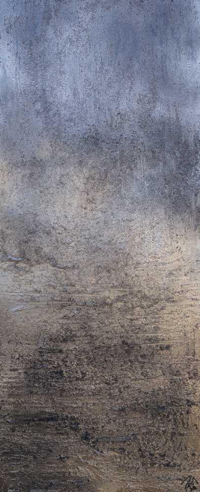 Abstraktes Acrylbild gold und silber mit grober Struktur Mischtechnik expressionistisch schlicht hochformat
