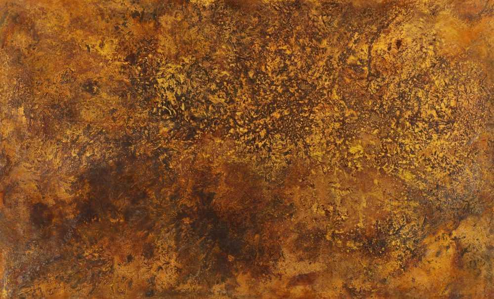 Abstraktes Bild aus echtem Rost auf Leinwand handgemalt groß zeitgenössisch Modern Art XXL
