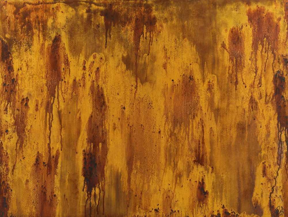 Abstraktes Gemälde aus echtem Rost auf Leinwand handgemalt zeitgenössisch modern groß