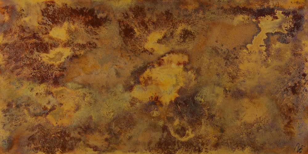 Abstraktes Acrylbild aus echtem Rost auf Leinwand handgemalt in XXL einzigartig
