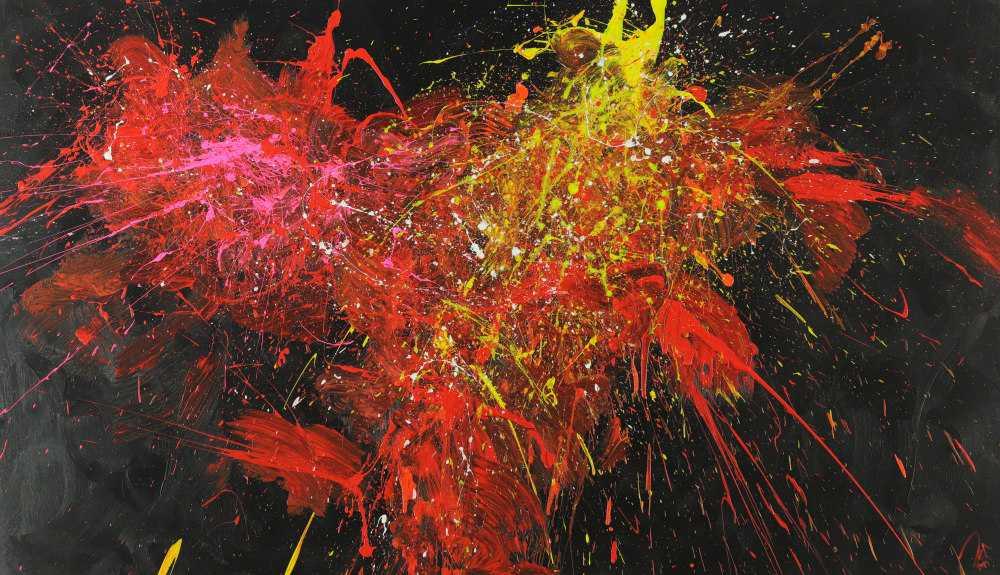 Abstraktes Acrylbild Modern Art zeitgenössisch handgemalt auf Leinwand expressionistisch Action Painting