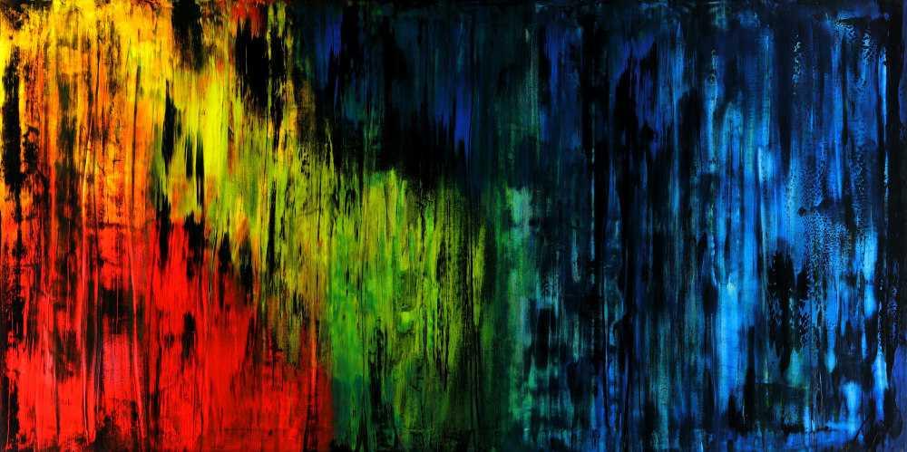 Abstraktes Acrylbild bunt und schwarz Mondern Art zeitgenössisch auf Leinwand hangemalt