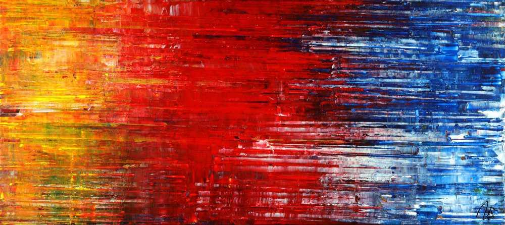 Abstraktes Acrylbild Spachteltechnik Modern Art gelb rot blau weiß auf Leinwand