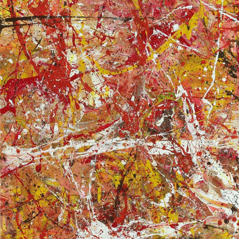 Abstraktes Acrylbild handgemalt Action Painting auf Leinwand zeitgenössiche Kunst