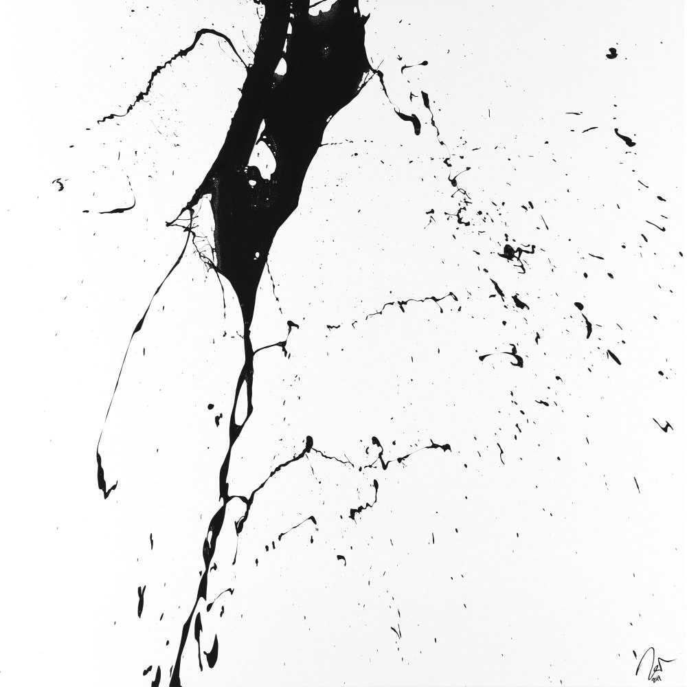 Abstraktes Acrylbild schwarz weiß minimalistisch Action Painting auf Leinwand handgemalt