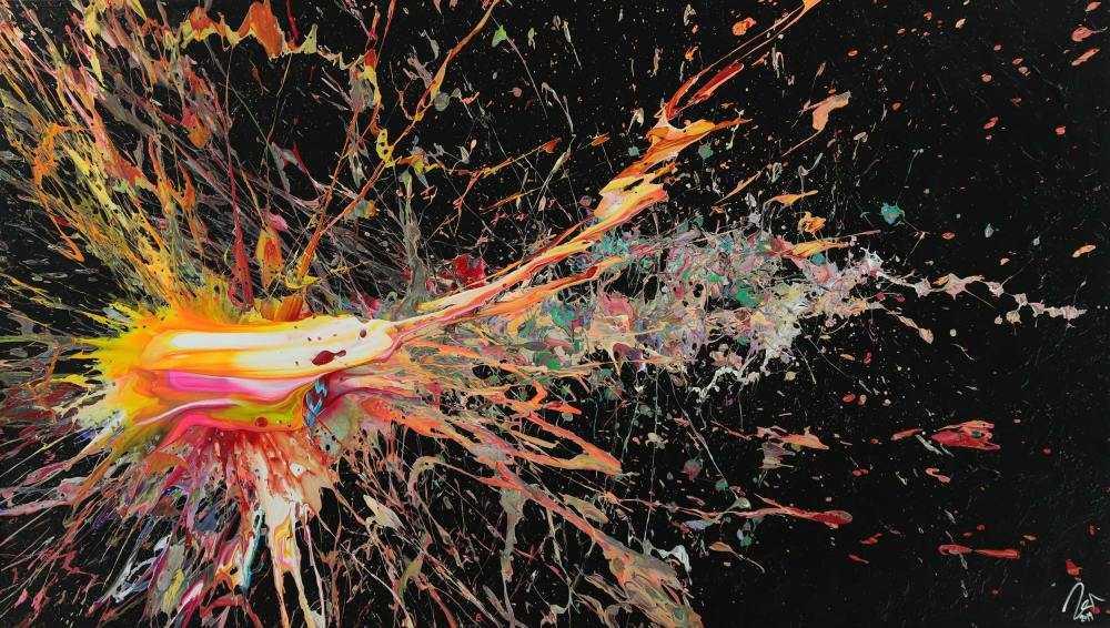 Abstraktes Acrylbild auf Leinwand Action Painting Neon Farben Modern Art zeitgenössisch
