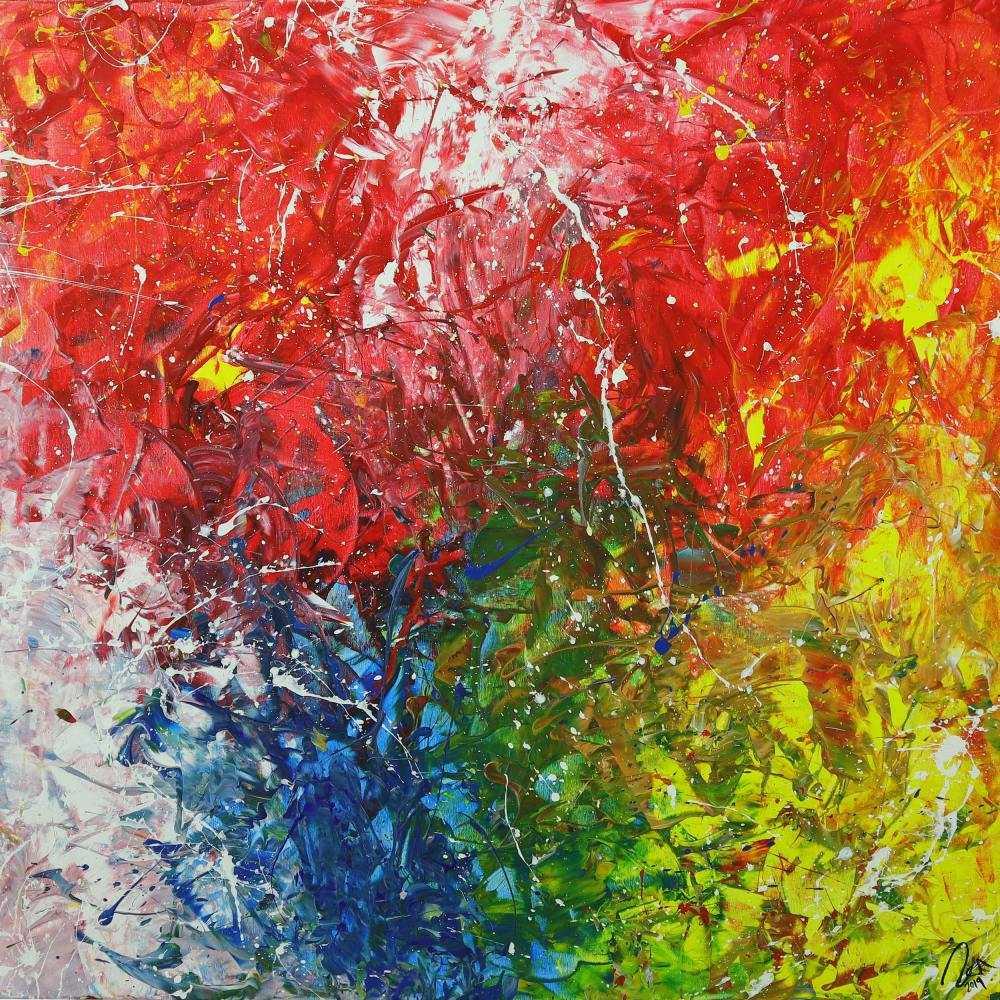 Abstraktes Acrylbild sehr bunt Action Paintng und Spachteltechnik auf Leinwand handgemalt