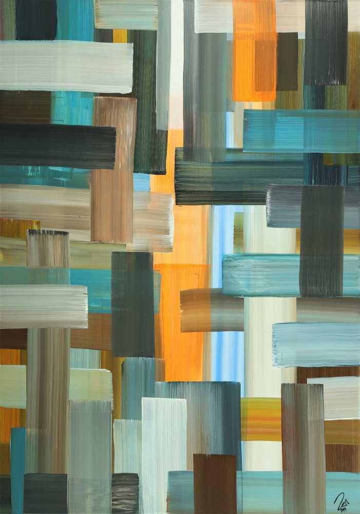 Abstraktes Gemälde Streifen zeitgenössisch modern handgemalt auf Leinwand Hochformat