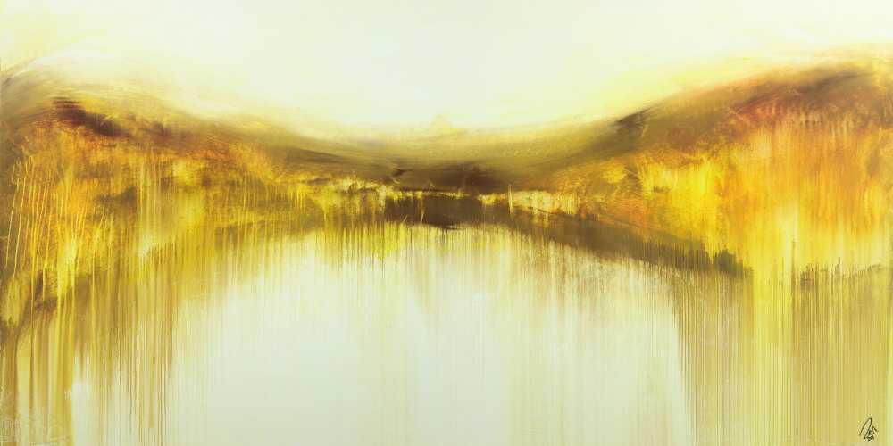 Abstraktes Gemälde handgemalt auf Leinwand weiß gelb braun zeitgenössisch