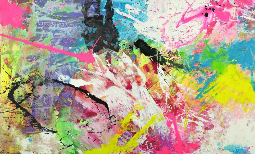 Abstraktes Gemälde sehr bunt neon Farben Action Painting Modern Art