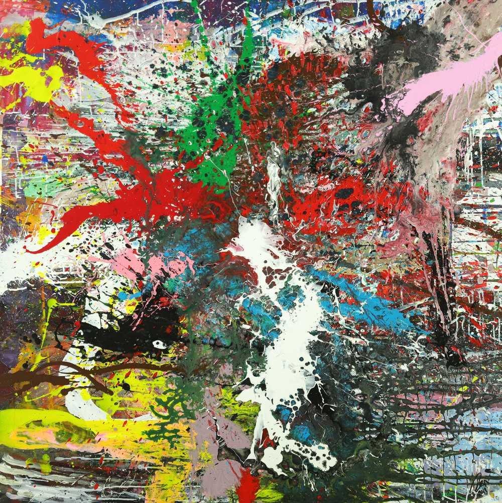 Action Painting Gemälde auf Leinwand handgemalt Modern Art bunt Splash Art