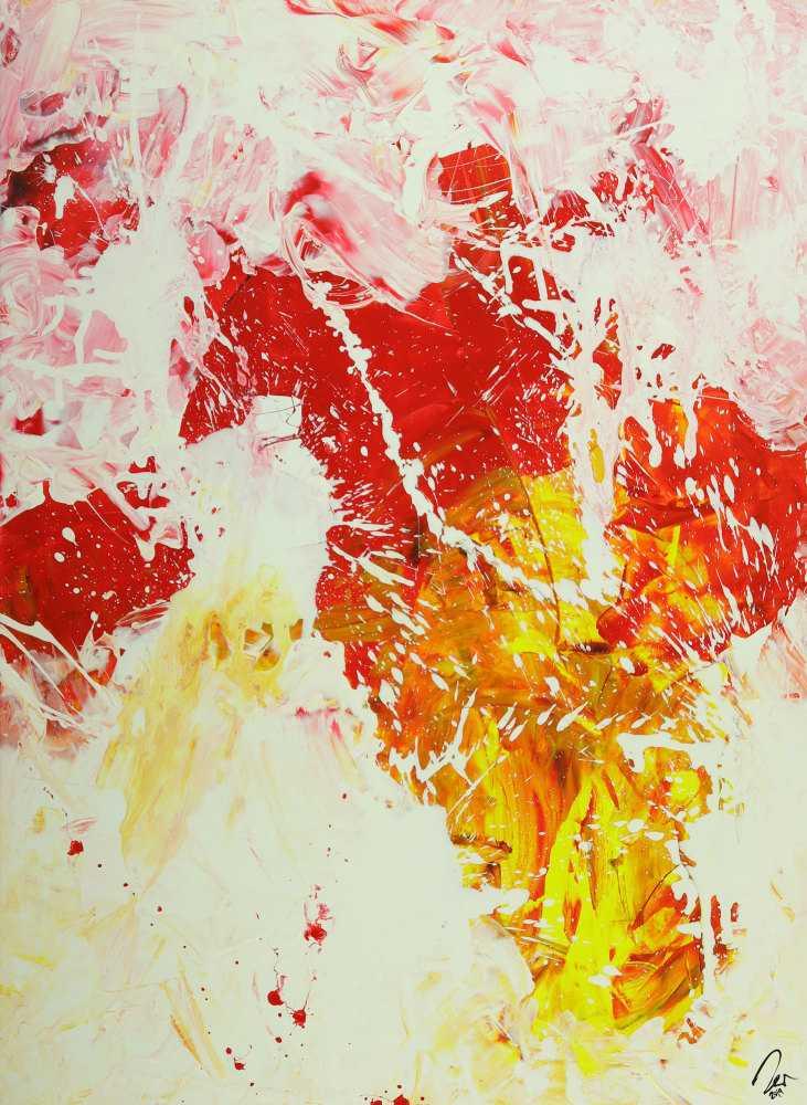 Abstraktes Gemälde Action Painting hochformat weiß rot gelb rosa handgemalt