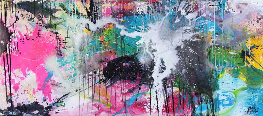 Abstraktes Gemälde sehr bunt Mondern Art handgemalt Mischtechnik