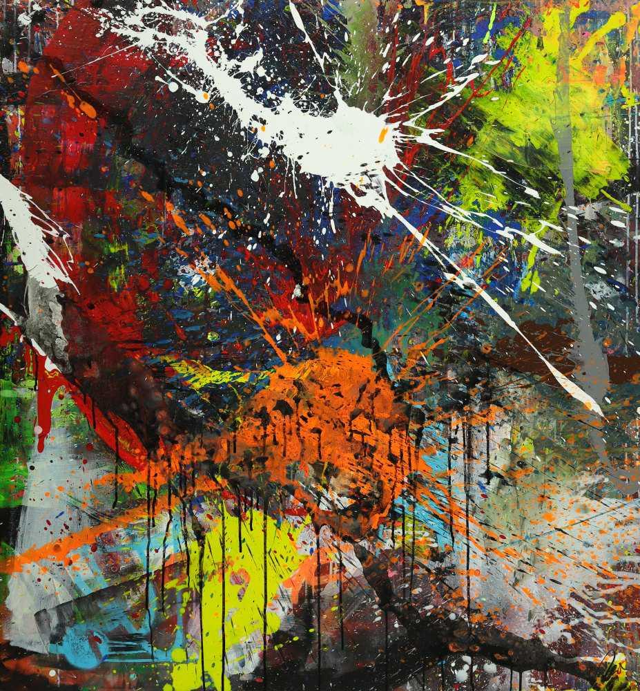 Abstraktes Gemälde bunt Action Painting Mischtechnik Modern Art auf Leinwand Hochformat