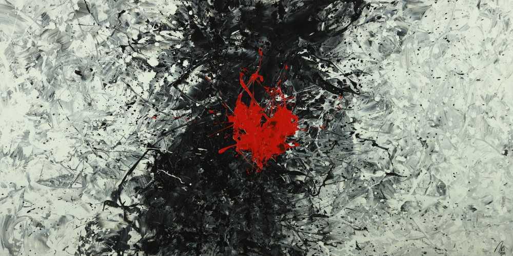 Abstraktes Acrylbild schwarz weiß grau tor Action Painting Modern Art auf Leinwand handgemalt