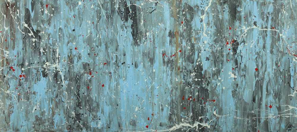 Abstraktes Acrylbild Modern Art blau grau weiß rot auf Leinwand handgemalt