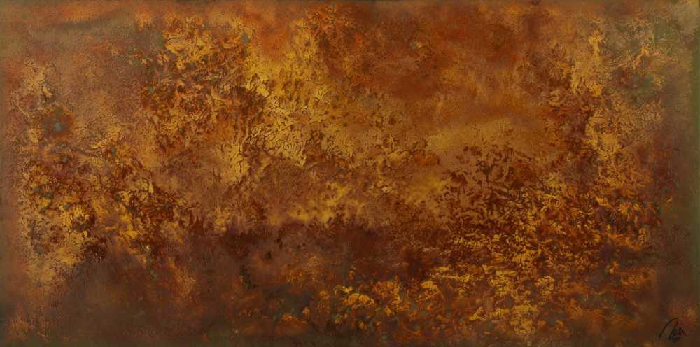 Abstraktes Gemälde aus echtem Rost Modern Art auf Leinwand Kust auf Rost