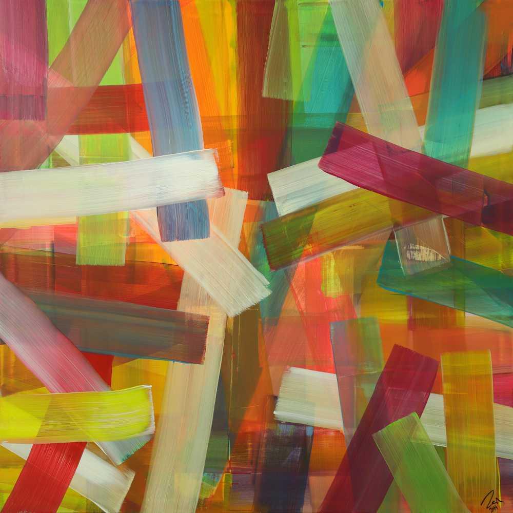 Abstraktes Acrylbild Mondern Art auf Leinwand sehr bunt handgemalt zeitgenössisch