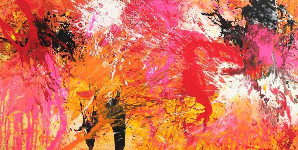 Abstraktes Gemälde Action Painting auf Leinwand handgemalt Modern Art