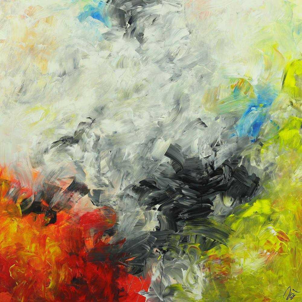 Abstraktes Gemälde Modern Art auf Leinwand handgemalt quadratisch