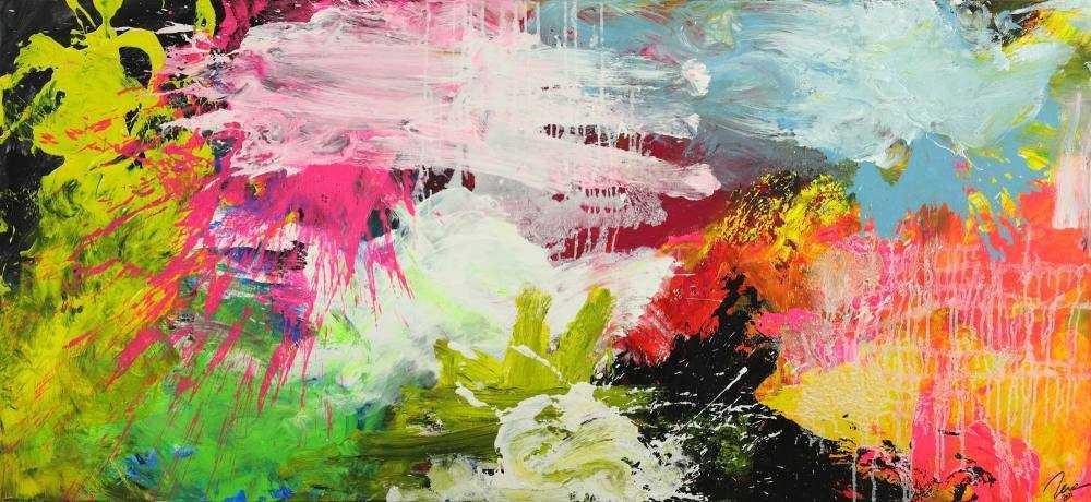 Abstraktes Gemälde Action Painting Mischtechnik grobe Struktur Modern Art