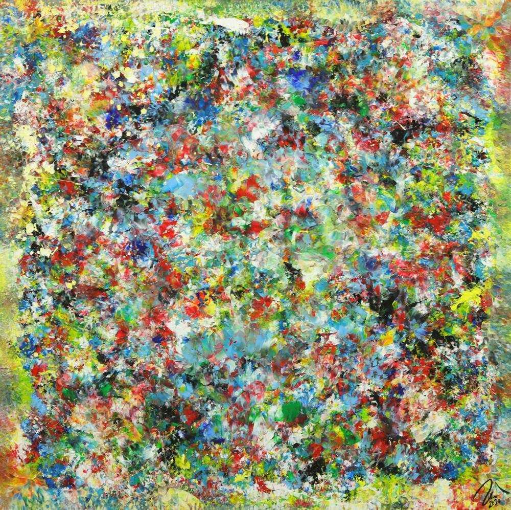 Abstraktes Gemälde Mischtechnik handgemalt hochformat