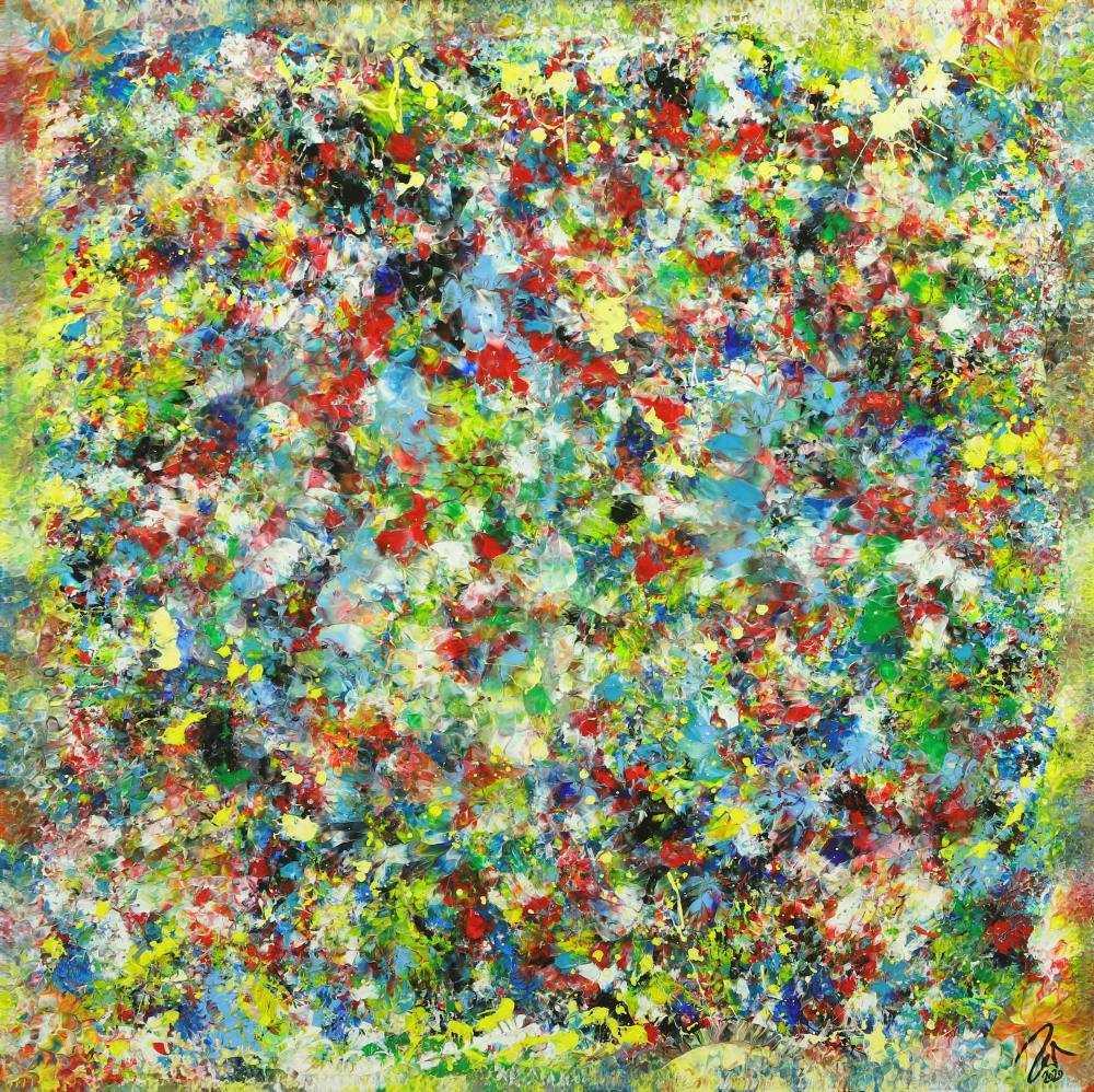 Abstraktes Gemälde sehr bunt Modern Art handgemalt auf Leinwand