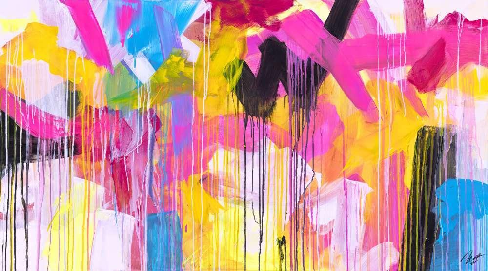 Abstraktes Gemälde auf Leinwand handgemalt sehr bunt Neon Farben Modern Art