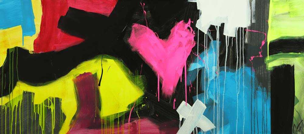 Modernes Gemälde abstrakt Modern Art handgemalt auf Leinwand sehr bunt Neon Farben