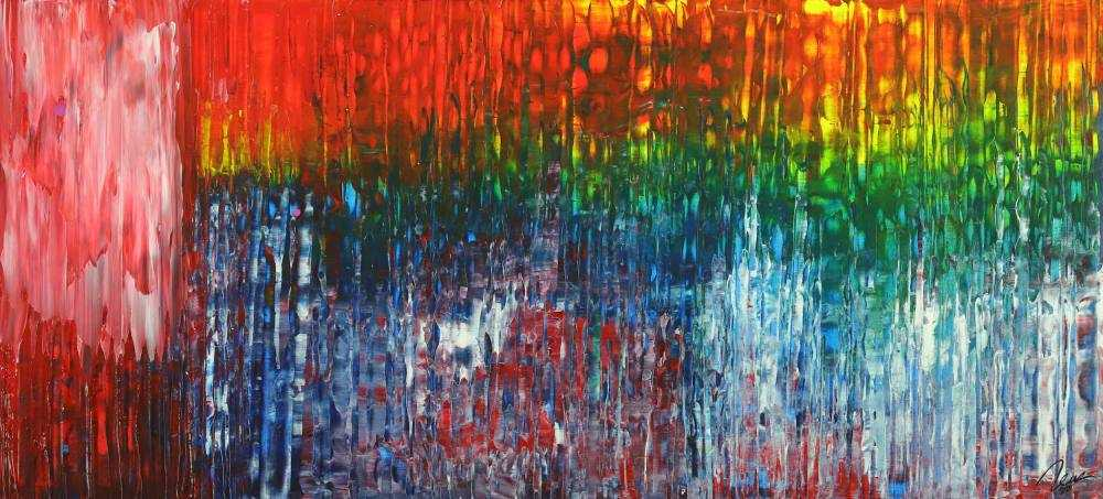 Abstraktes Gemälde Spachteltechnik Modern Art auf Leinwand handgemalt bunte Farben