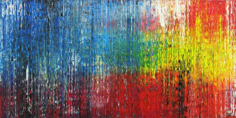 Abstraktes Gemälde Modern Art handgemalt Spachteltechnik sehr bunt