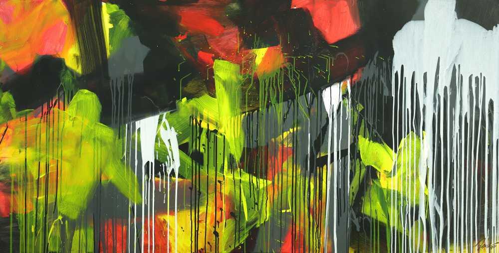 Gemälde Original abstrakt 100x200cm Action Painting expressionistisch auf Leinwand Mischtechnik schwarz weiß gelb hochwertig