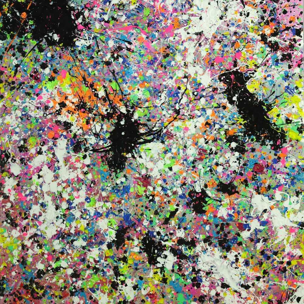Abstraktes Original Gemälde 100x100cm Action Painting zeitgenössisch handgemalt Mischtechnik weis bunt etwas neon Unikat