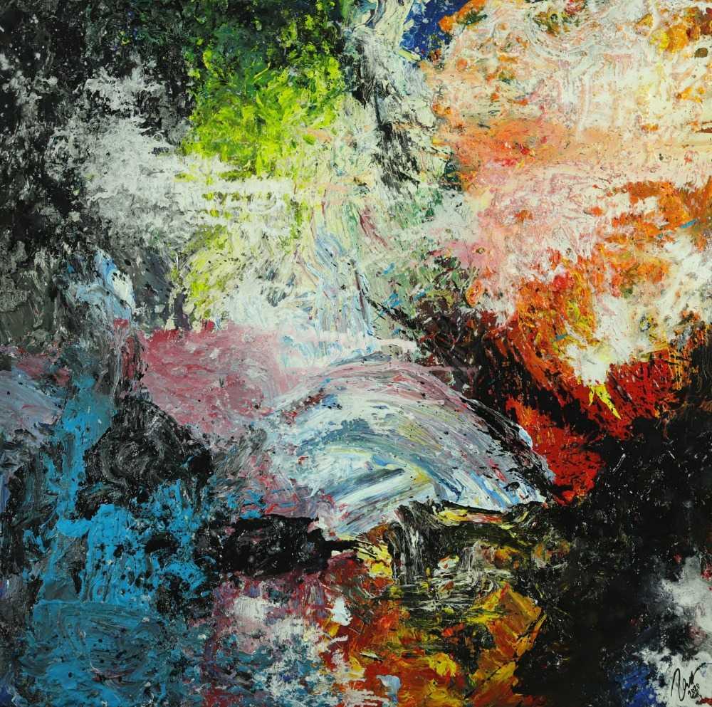 Abstraktes Original Gemälde 130x130cm Action Painting Modern Art handgefertigt Mischtechnik schwarz beige anthrazit Einzelstück