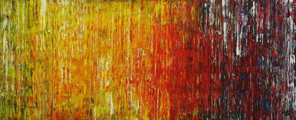 Abstraktes Original Gemälde 56x140cm Spachteltechnik Moderne Kunst handgemalt grün gelb rot blau bunt hochwertig
