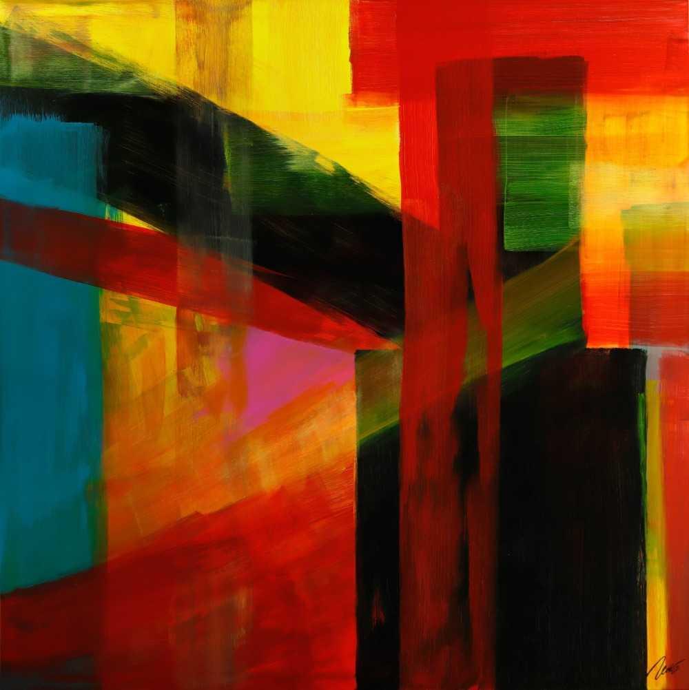 Gemälde Original abstrakt 150x150cm Mischtechnik Modern Art handgemalt rot gelb schwarz bunte Farben Einzelstück