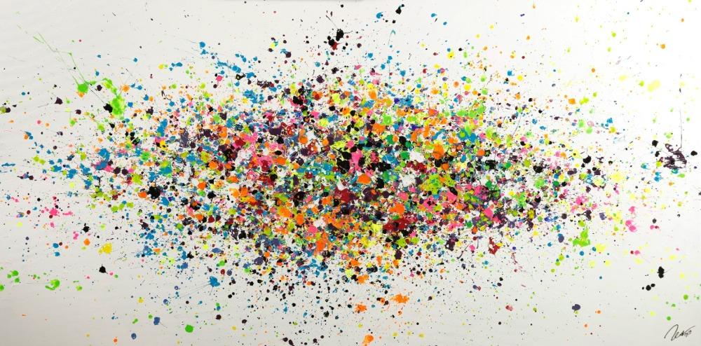 Gemälde Original abstrakt 100x200cm Minimalistisch Modern Art handgemalt Action Painting sehr bunt hochwertig