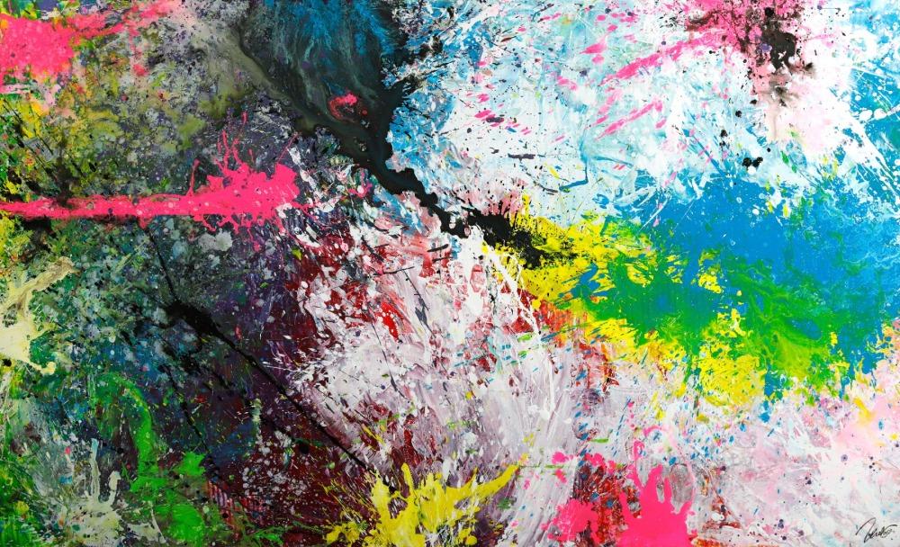 Gemälde Original abstrakt 120x200cm Action Painting expressionistisch handgemalt Splash Art sehr bunt hochwertig